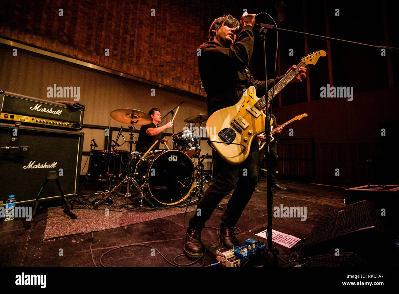 Cambridge, UK. 10th February, 2019. Conrad Keely of American indie art rock band ...And You Will Know Us by the Trail of Dead performs live at Storey's Field Centre in Eddington celebrating 20 years of the album Madonna. Richard Etteridge / Alamy Live News - Stock Image