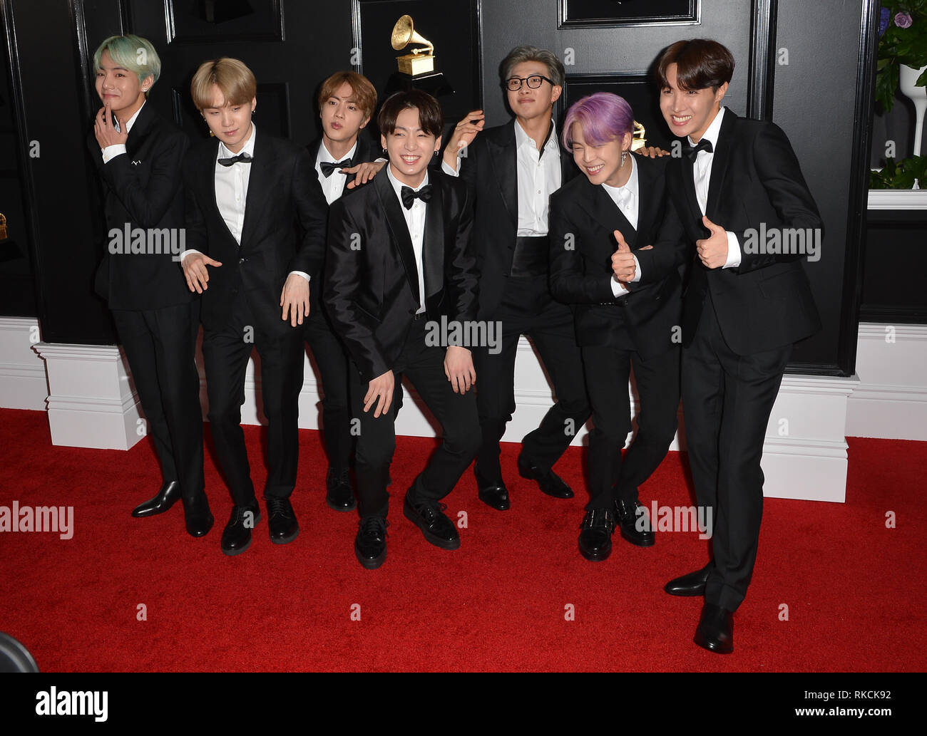 Los Angeles, Ca, USA. 10th Feb, 2019. BTS at the 61st Annual Grammy Awards at the Staples Center in Los Angeles, California on February 10, 2019. Credit: Faye Sadou/Media Punch/Alamy Live News - Stock Image