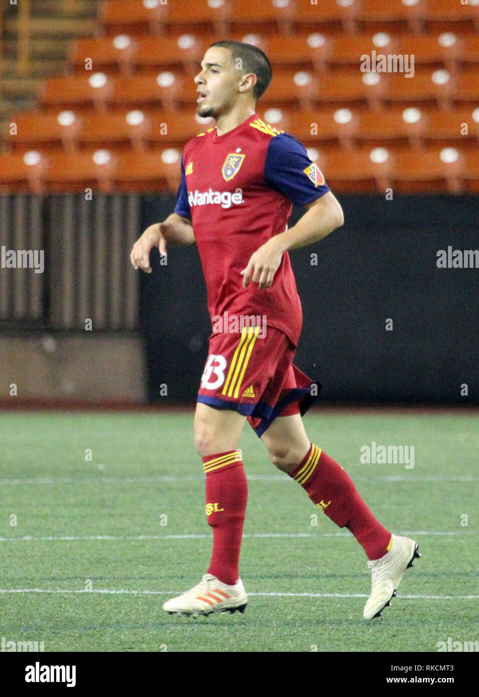 February 10, 2019 - Real Salt Lake midfielder Justin Portillo #43 during the Pacific Rim Cup championship match between V-Varen Nagasaki and Real Salt Lake at Aloha Stadium in Honolulu, HI - Michael Sullivan/CSM - Stock Image