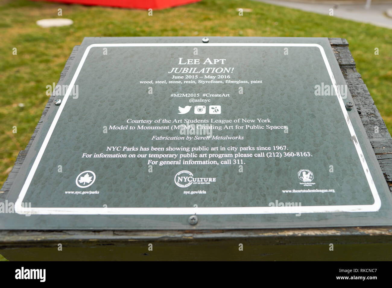 NEW YORK - CIRCA MARCH 2016: close up shot of information plate in the park at New York. The City of New York is the most populous city in the United  Stock Photo