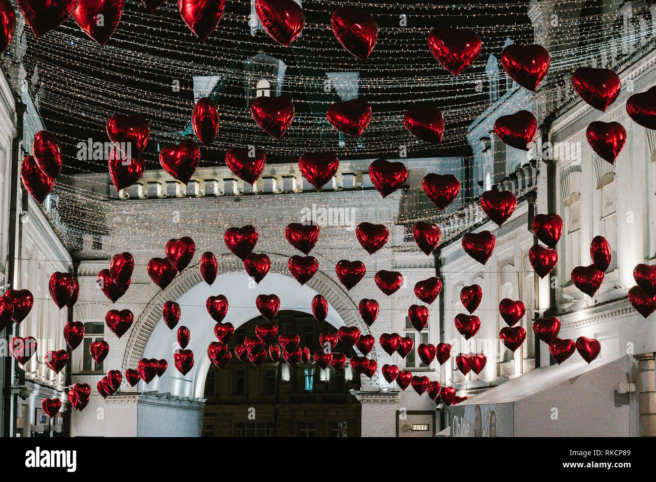 Moscow, Russia - February 9, 2019. Tretyakov Passage decorated with balloons in shape of hearts for Valentine Day– Stock Editorial Photography - Stock Image