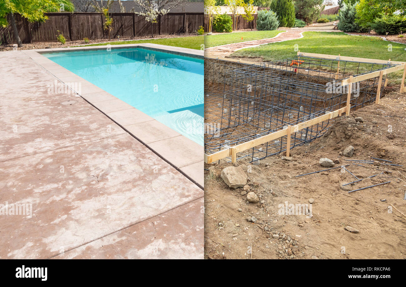 Before and After Pool Build Construction Site Stock Photo ...