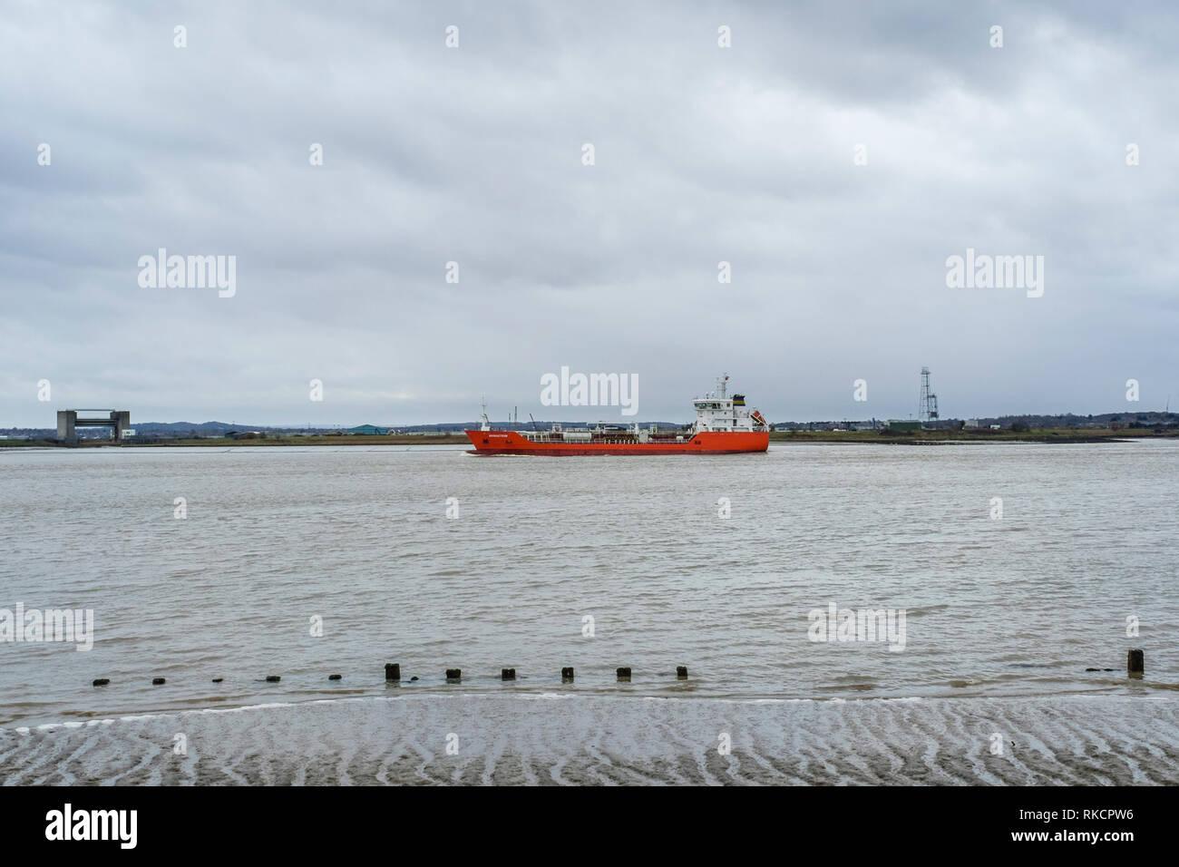 Bernstein oil tanker, River Thames estuary, UK - Stock Image