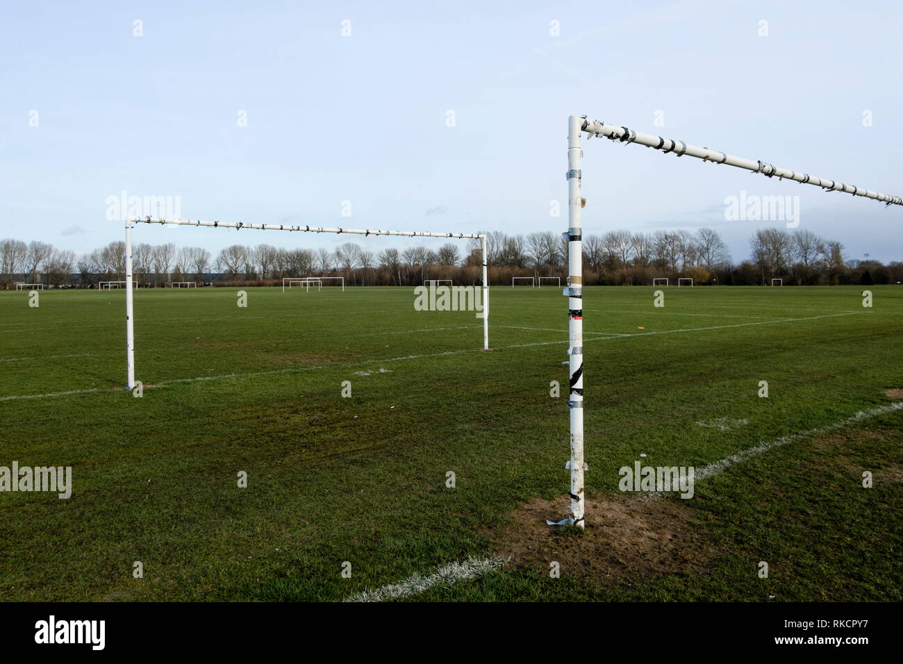 Hackney Marshes playing fields, London, UK - Stock Image