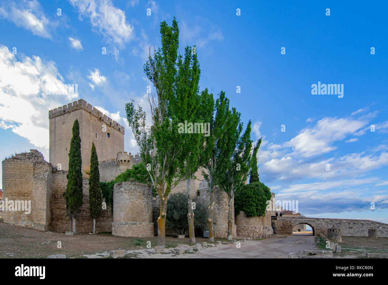 view of medieval castle of Ampudia, of the XV century, in the Province of Palencia - Stock Image