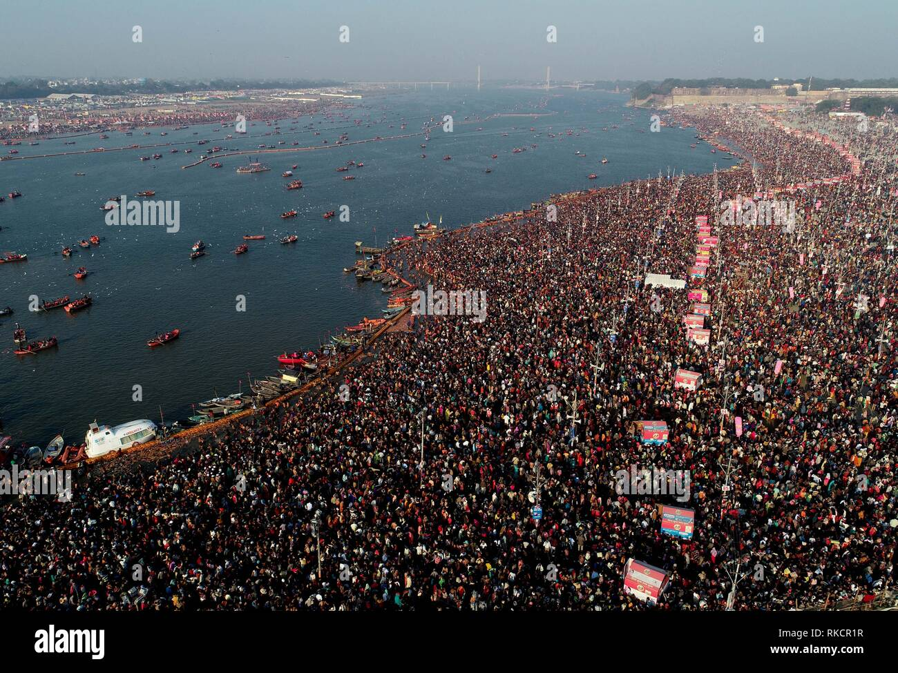 Allahabad, India. 10th Feb, 2019. An areal view of Sangam as Sadhus and devotees take holydip on the occasion of Basant Panchami festival during Kumbh or Pitcher festival in Allahabad. Credit: Prabhat Kumar Verma/Pacific Press/Alamy Live News Stock Photo