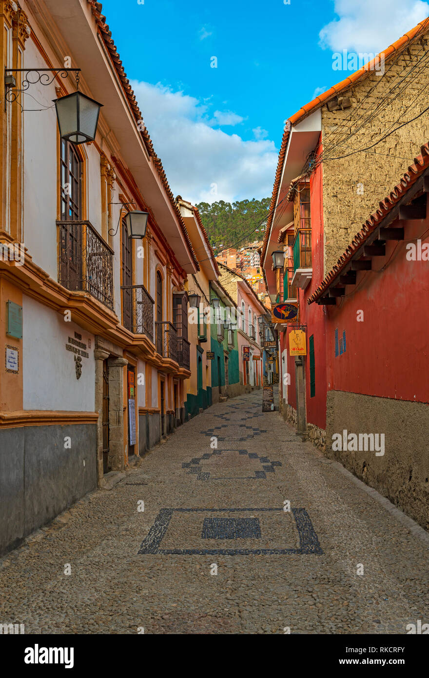 Vertical photograph of the beautiful Jaen street with its colorful Spanish colonial architecture in the historic city center of La Paz, Bolivia. - Stock Image