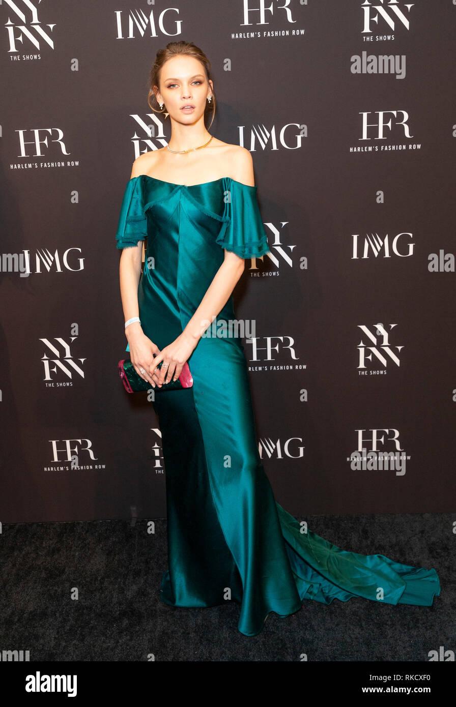 New York, NY - February 6, 2019: Model Faith Lynch wearing