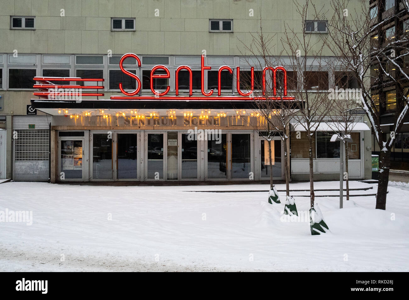 Outside the old concert venue in Oslo called Sentrum Scene during winter - Stock Image