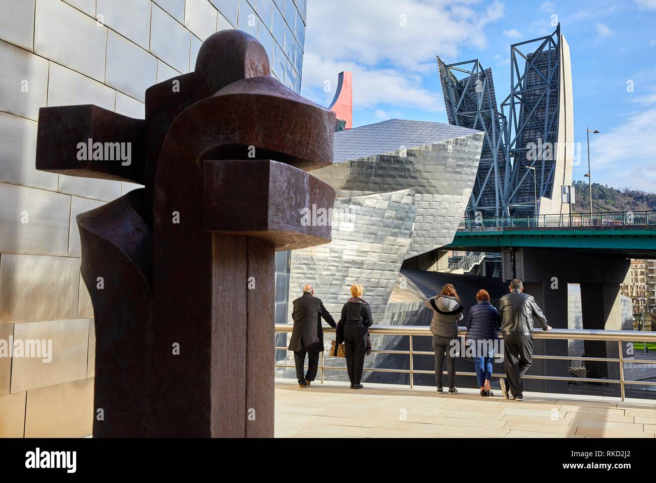 ´Embrace XI (Besarkada XI)´, 1996, Eduardo Chillida, Guggenheim Bilbao Museoa, Bilbao, Bizkaia, Basque Country, Spain, Europe Stock Photo