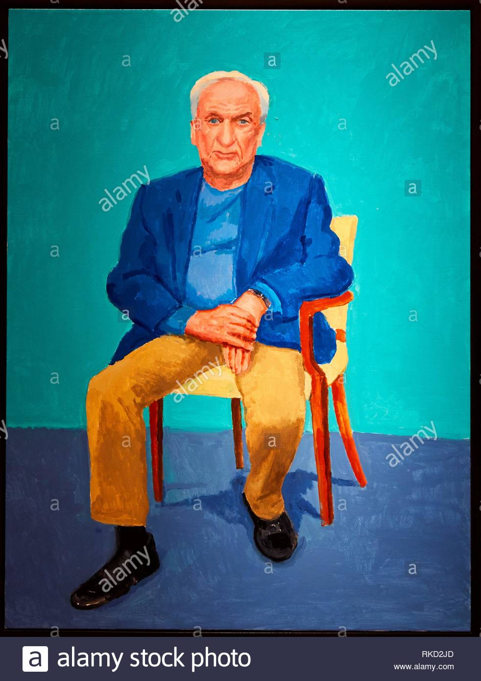 ´ Frank Gehry 24th, 25th February 2016 ´, ´82 Portraits and 1 Still-life´, David Hockney, Guggenheim Museum, Bilbao, Bizkaia, Basque Country, Spain, - Stock Image