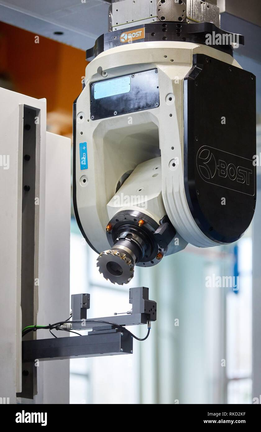 Lathe head with cutting tool, Vertical lathe, Machining Center, CNC, Design, manufacture and installation of machine tools, Gipuzkoa, Basque Country, - Stock Image