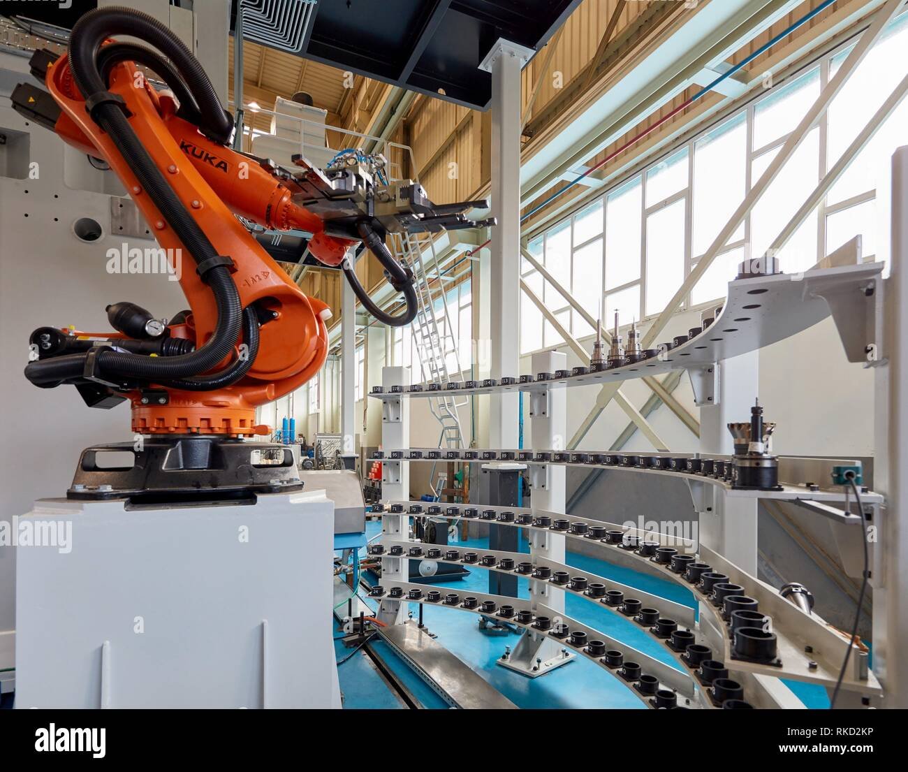 Robot tool changer, Machining Center, CNC, Design, manufacture and installation of machine tools, Gipuzkoa, Basque Country, Spain, Europe - Stock Image