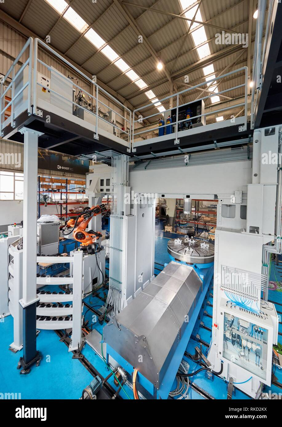Robot tool changer, Vertical lathe, Machining Center, CNC, Design, manufacture and installation of machine tools, Gipuzkoa, Basque Country, Spain, - Stock Image