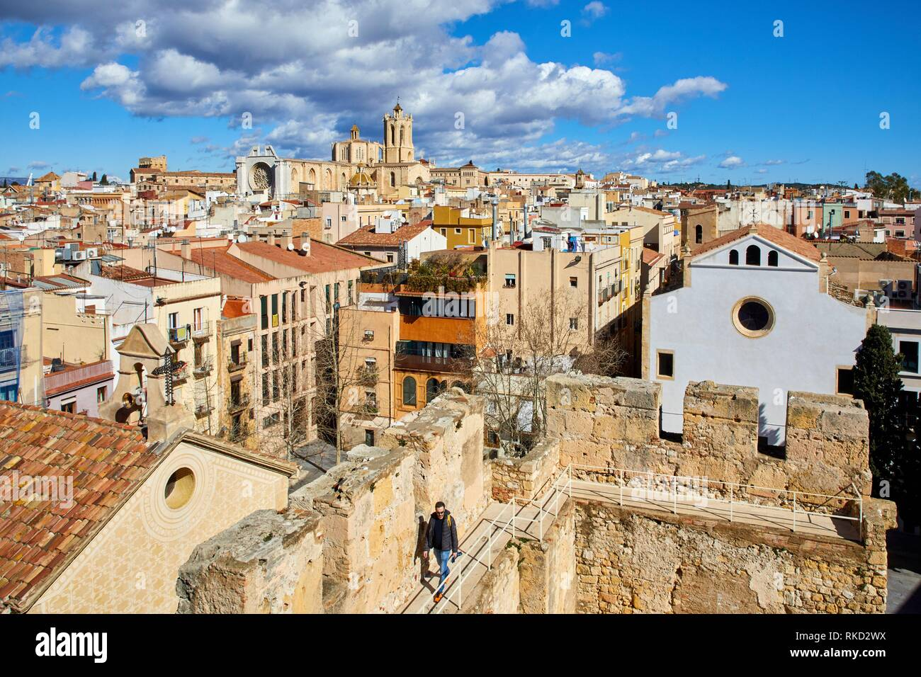 Cathedral, Roman Praetorium, Plaça del Rei, Tarragona City, Catalonia, Spain, Europe - Stock Image