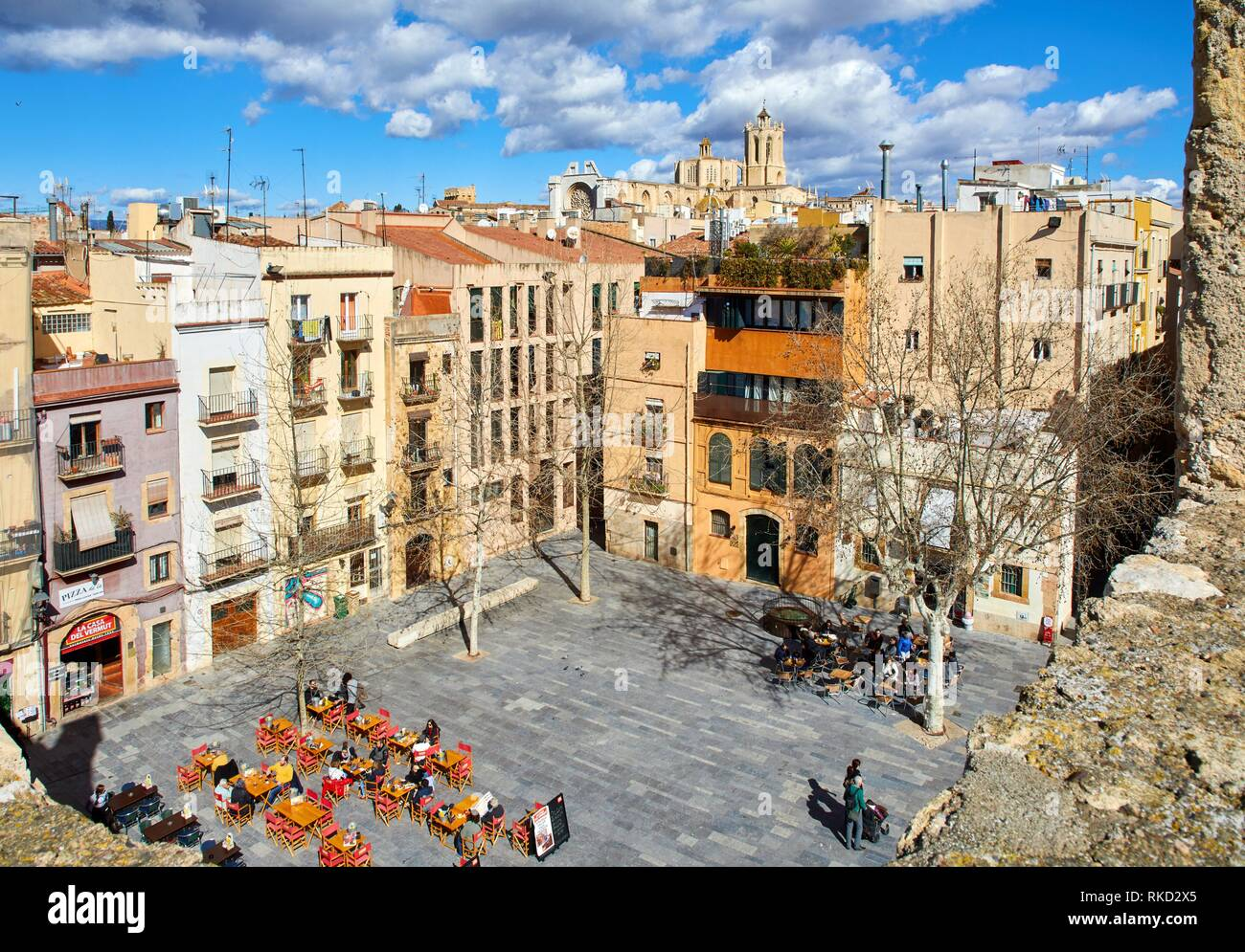 View from Roman Praetorium, Plaça del Rei, Tarragona City, Catalonia, Spain, Europe - Stock Image