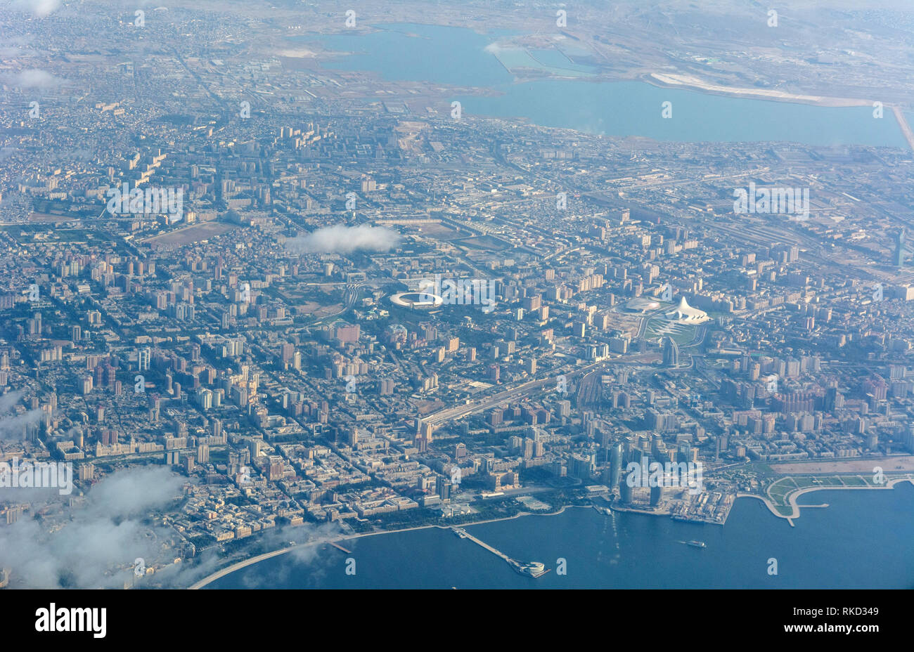 Aerial view over Baku, the capital of Azerbaijan. Stock Photo