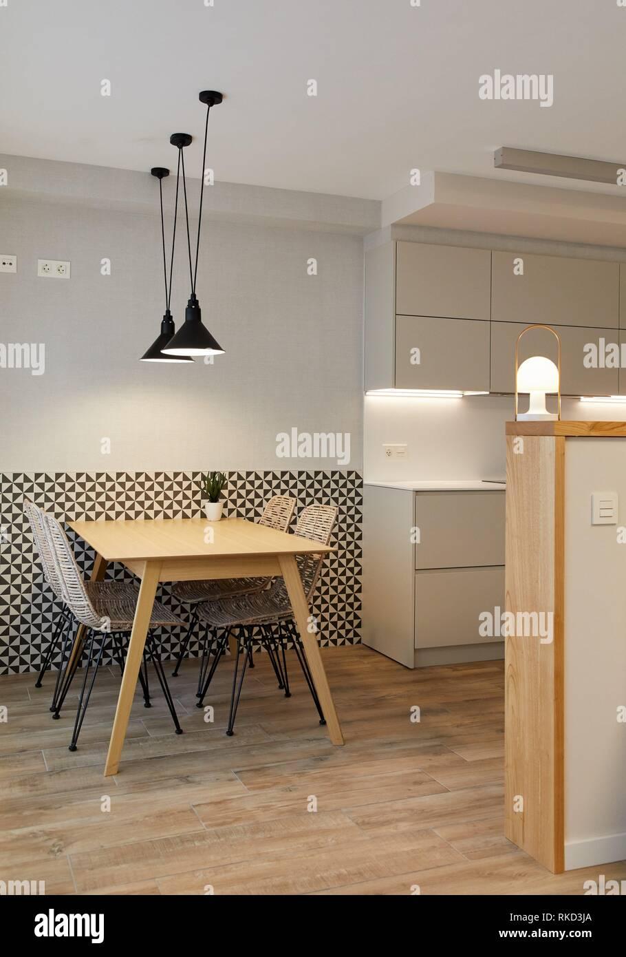 Dining room and kitchen, illumination, Interior decoration of housing, O–ati, Gipuzkoa, Basque Country, Spain, Europe - Stock Image