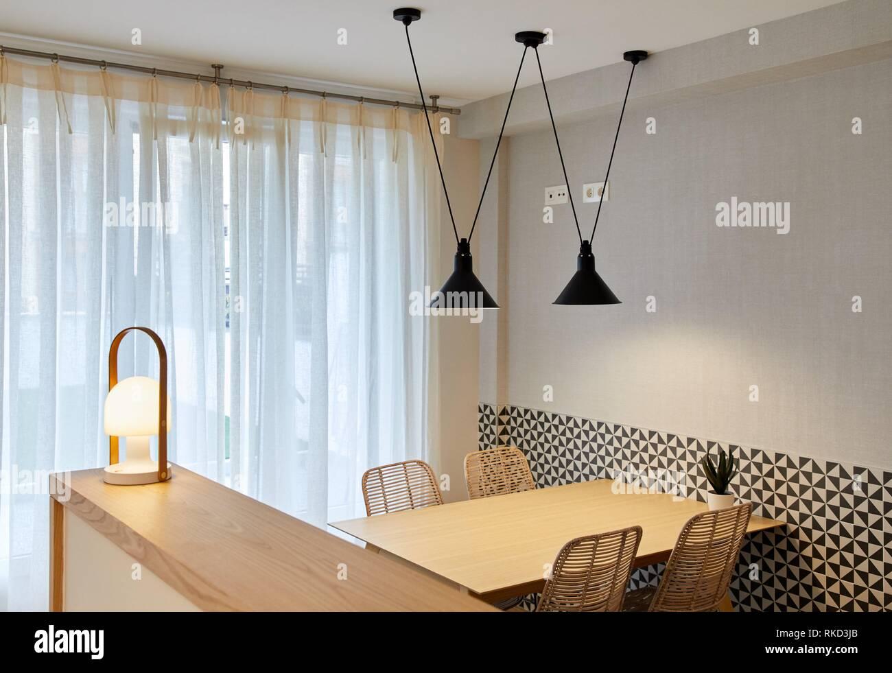 Dining room and kitchen, illumination, Interior decoration of housing, Oñati, Gipuzkoa, Basque Country, Spain, Europe - Stock Image