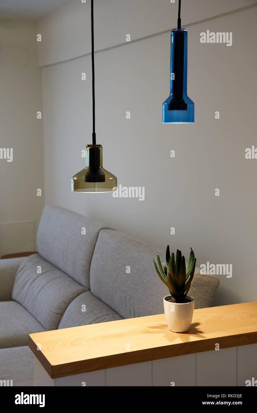 Living room, illumination, Interior decoration of housing, Oñati, Gipuzkoa, Basque Country, Spain, Europe - Stock Image