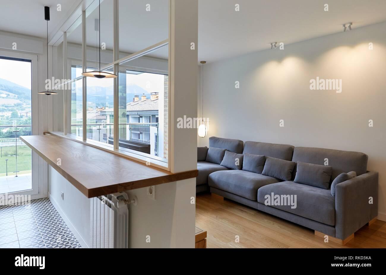 Living room and kitchen, Illumination, Interior decoration of housing, Oñati, Gipuzkoa, Basque Country, Spain, Europe - Stock Image