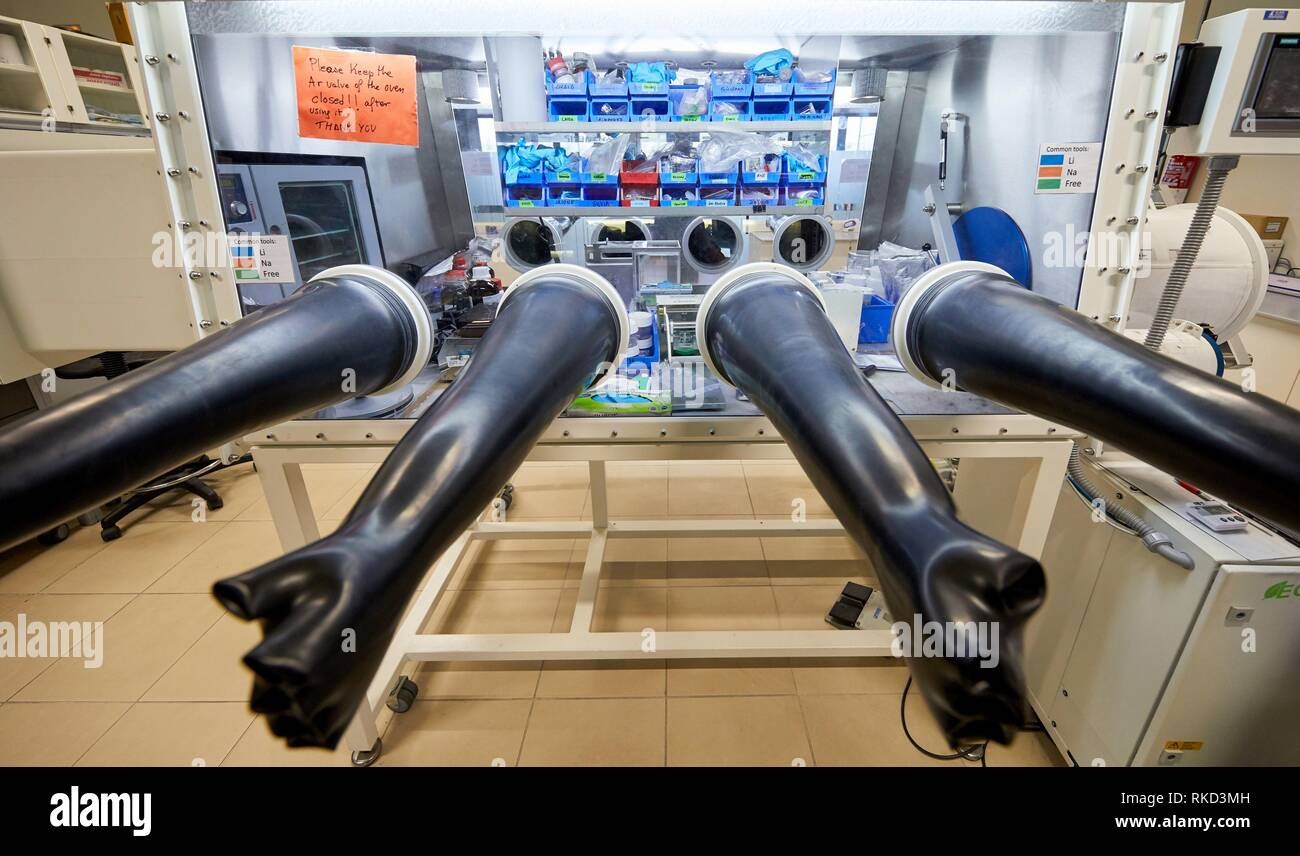 Controlled atmosphere glove box, Synthesis Laboratory, Basque Country, Spain Europe - Stock Image
