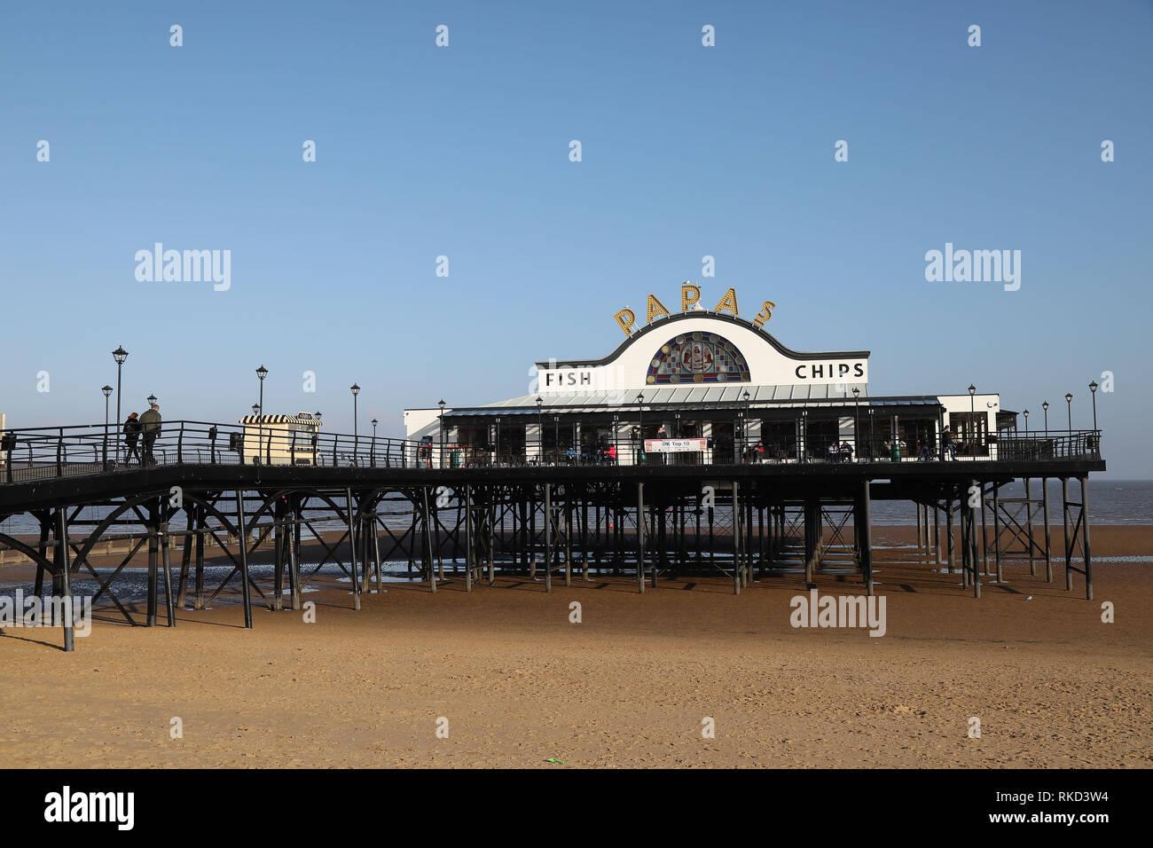 Cleethorpes Pier on Cleethorpes Beach. Stock Photo