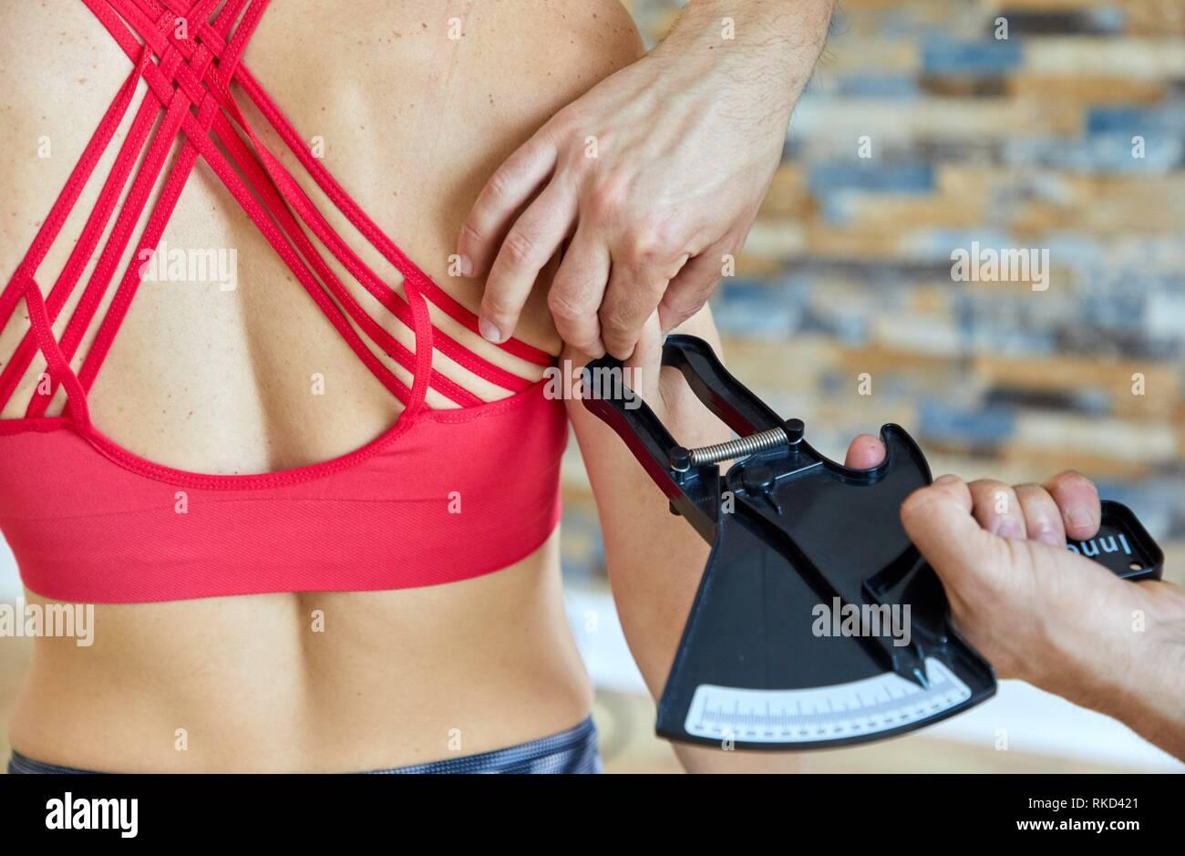 Measurement of creases, Nutritionist Consultation, Fitness center, Donostia, San Sebastian, Basque Country, Spain, Europe - Stock Image