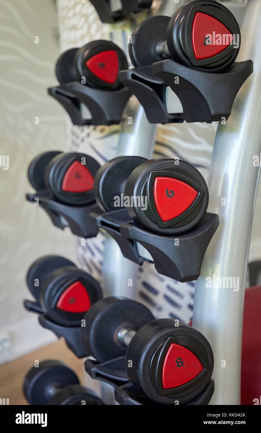Dumbbells, Fitness center, Donostia, San Sebastian, Basque Country, Spain, Europe - Stock Image