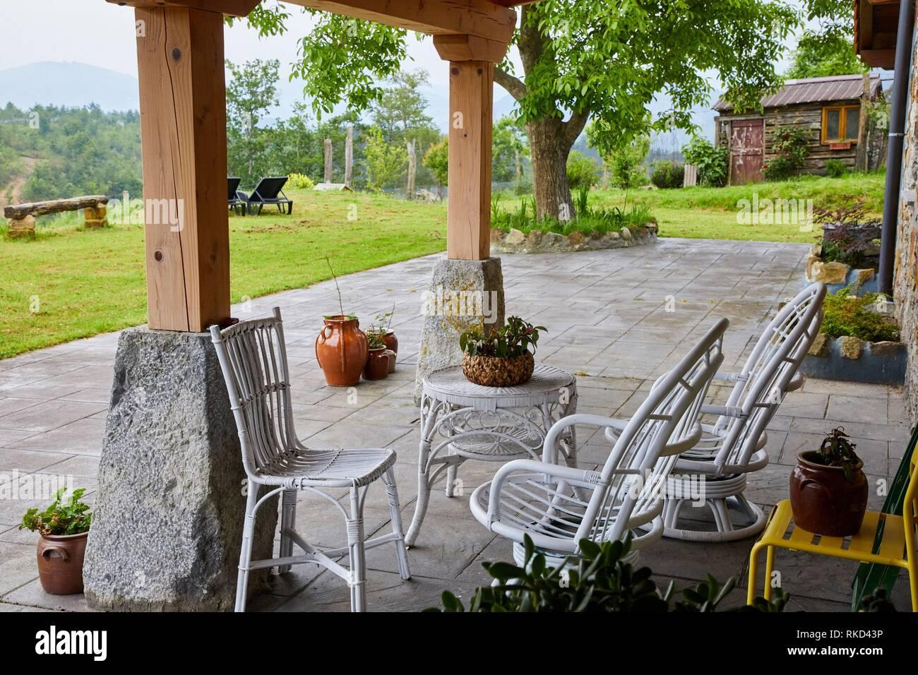 Porch, Rural apartment, Deba, Gipuzkoa, Basque Country, Spain, Europe - Stock Image