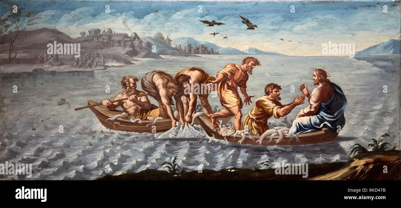 Miraculous catch of fish, 1791-1792, Fray Manuel Bayeu y Subias, Catedral de Jaca, Diocesan Museum, Museo Diocesano, Jaca, Huesca province, Aragón, - Stock Image