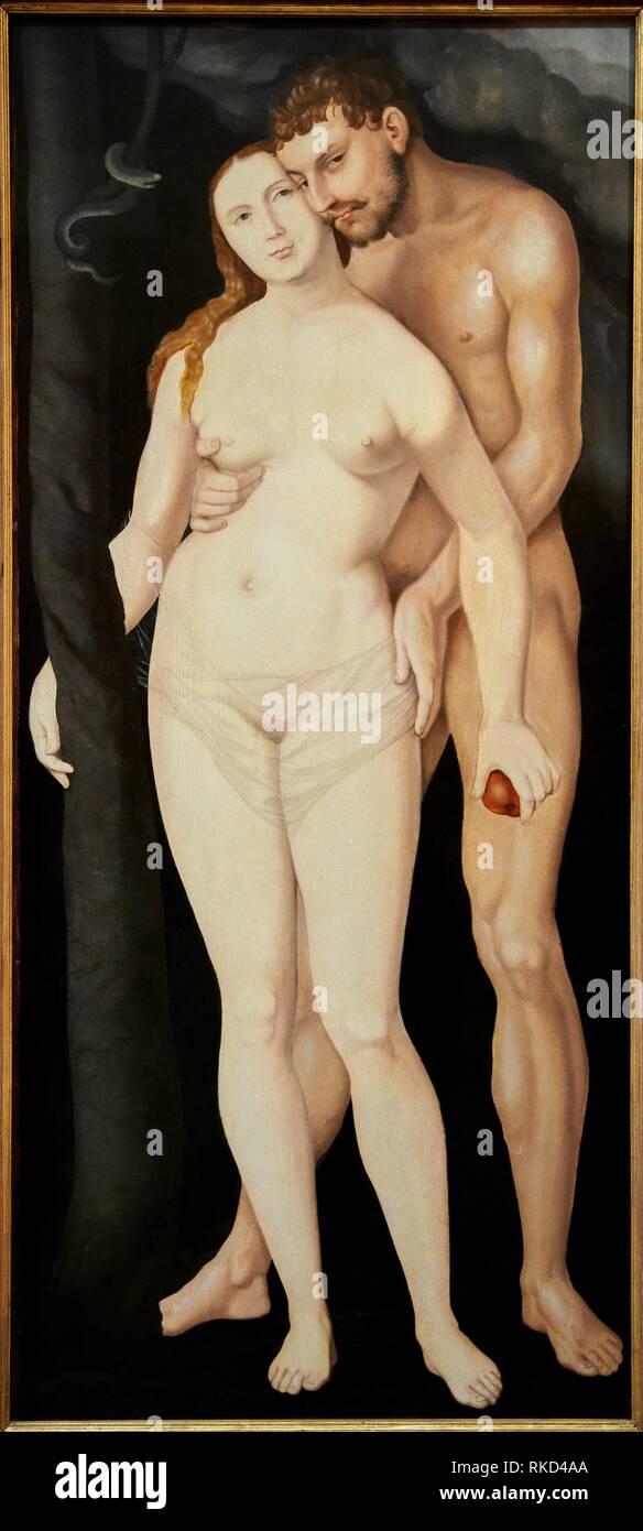 '''Adam and Eve'', Hans Baldung Grien, 1531, Thyssen Bornemisza Museum, Madrid, Spain - Stock Image