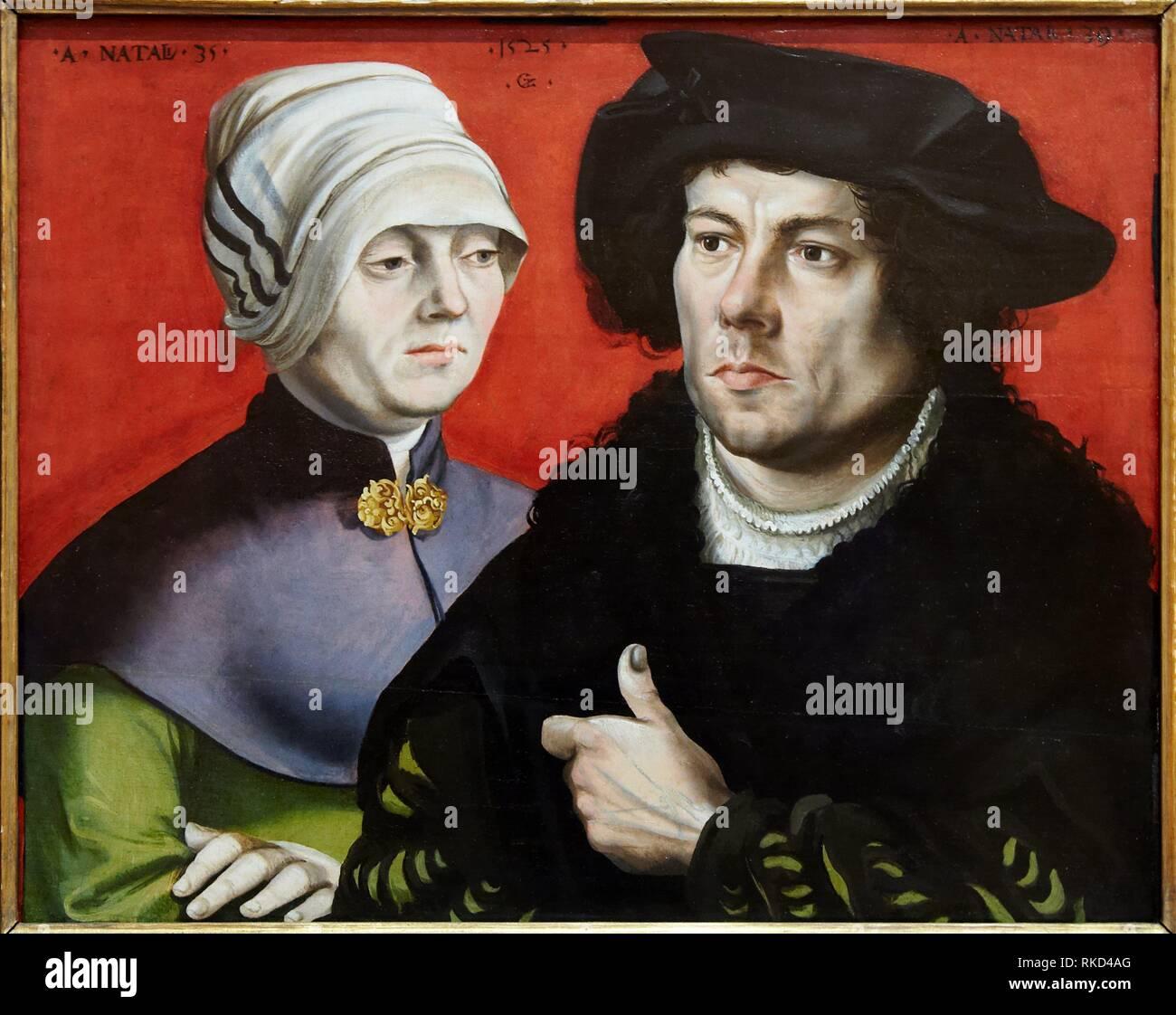 '''Portrait of a married couple'', Gabriel Zehender, 1525, Thyssen Bornemisza Museum, Madrid, Spain - Stock Image