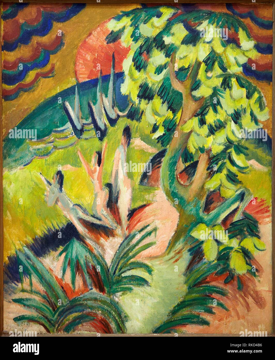 '''Curving Bay'', 1914, Ernst Ludwig Kirchner, Thyssen Bornemisza Museum, Madrid, Spain - Stock Image
