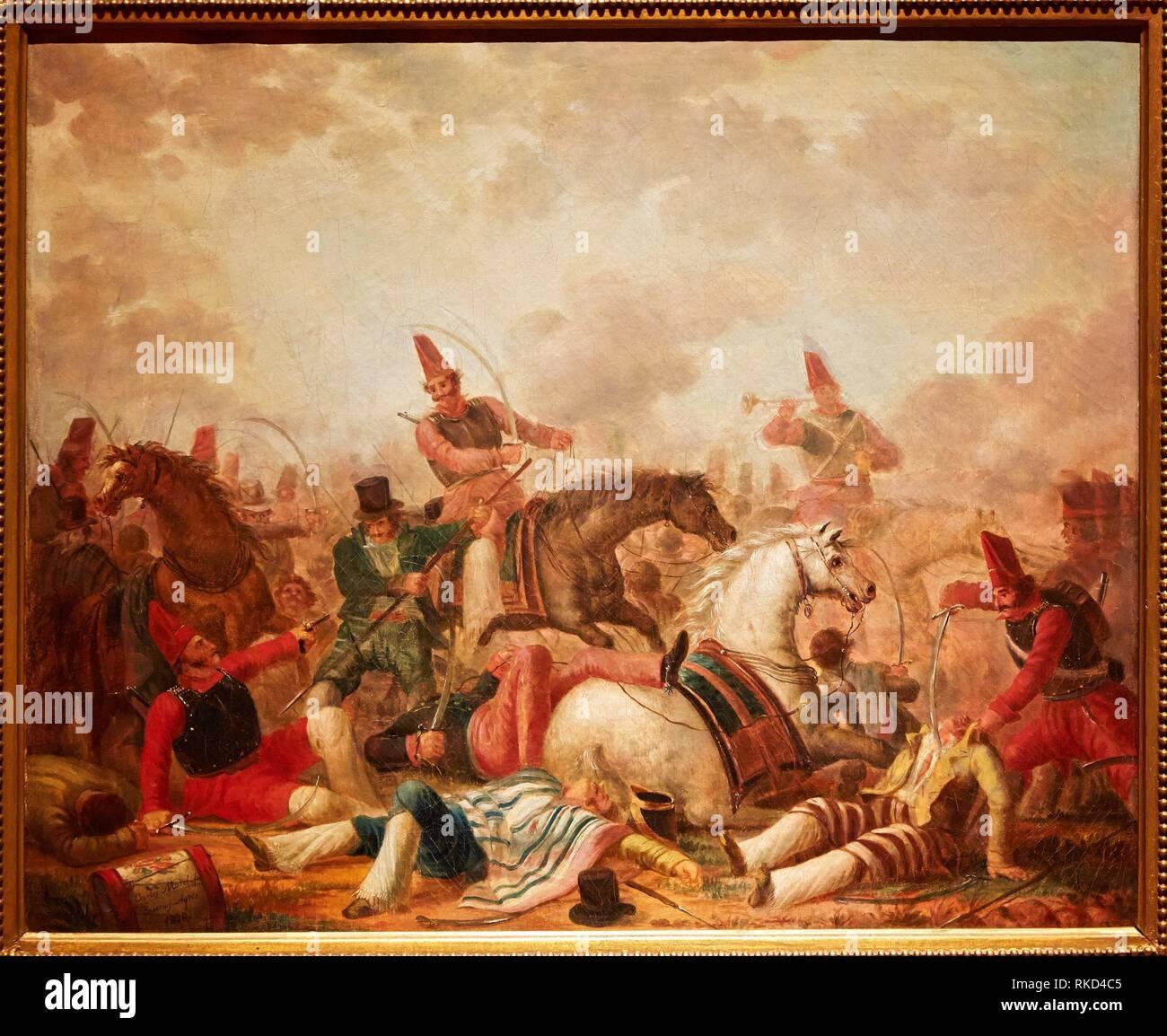 '''Combate de Caballería'', Carlos Morel. Museo Nacional de Bellas Artes. National museum of Fine Arts. Recoleta. Buenos Aires. Argentina - Stock Image