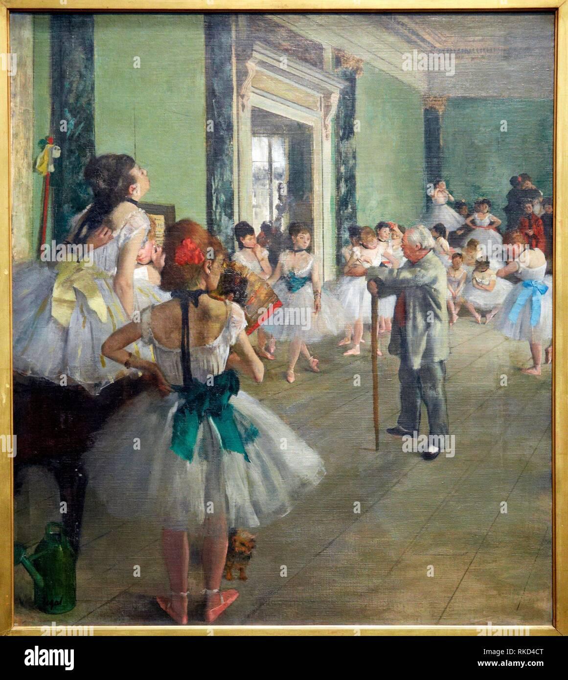 '''The dance class'', 1874, by Edgar Degas (1834-1917), oil on canvas, 85x75 cm. Musée d'Orsay. Orsay Museum. Paris. France. - Stock Image
