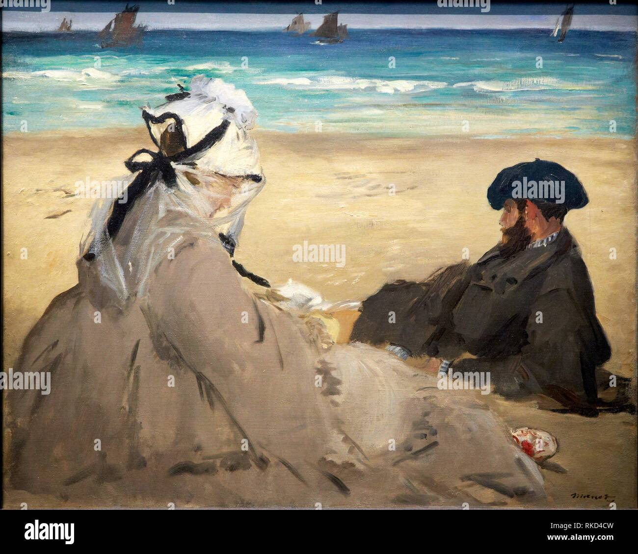 '''On the Beach'', 1873, by Edouard Manet (1832-1883), oil on canvas, 60x73 cm. Musée d'Orsay. Orsay Museum. Paris. France. - Stock Image