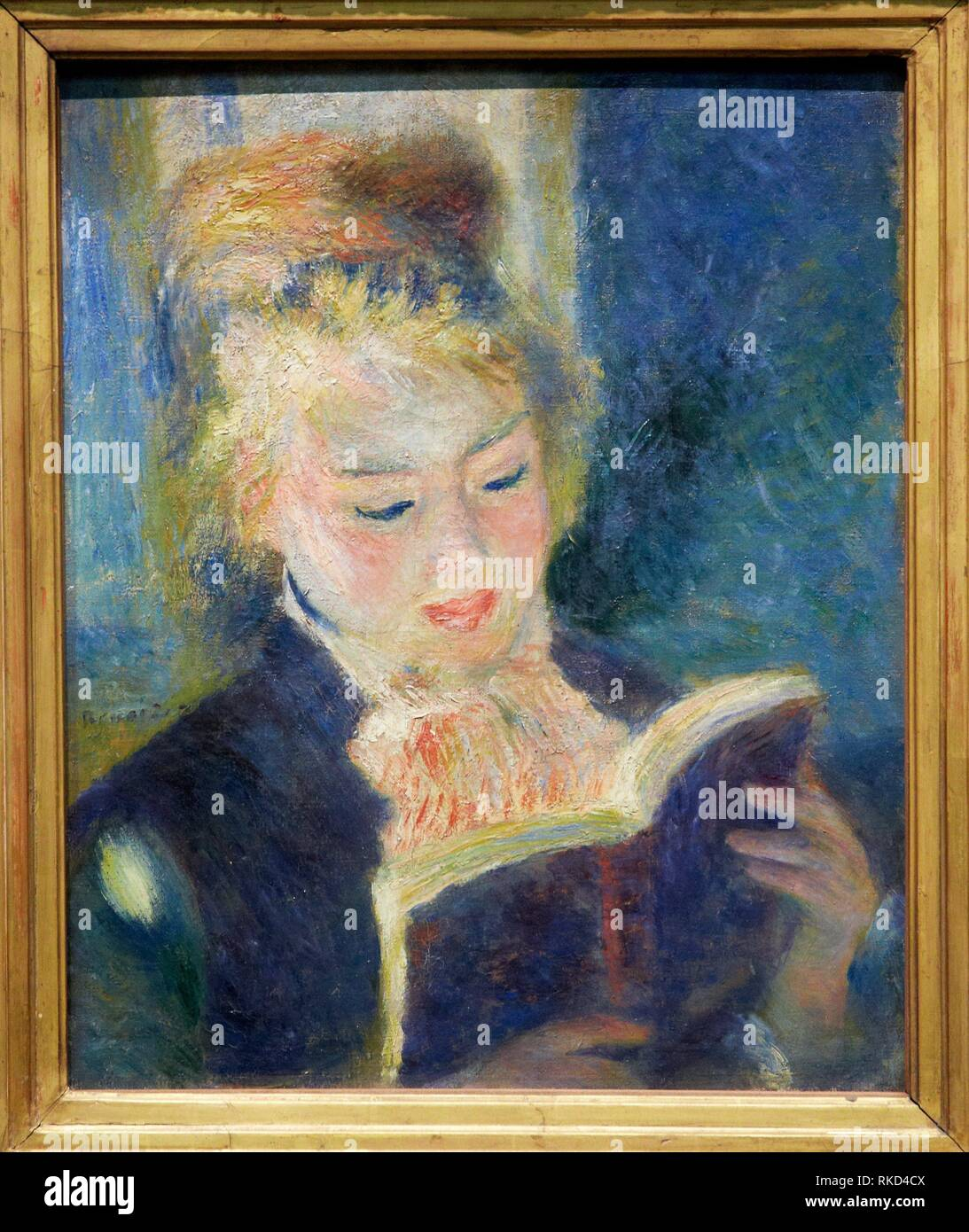 '''The reader'', 1875-1876, by Pierre-Auguste Renoir (1841-1919), oil on canvas, 47x38 cm. Musée d'Orsay. Orsay Museum. Paris. France. - Stock Image