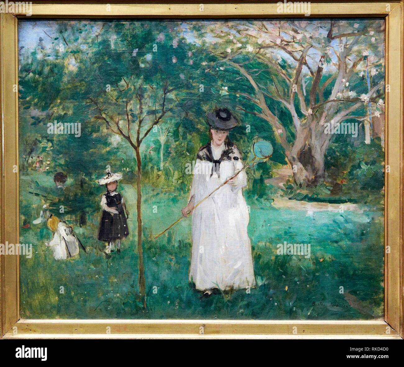 '''Chasing Butterflies'', by Berthe Morisot, 1875, 19th Century, oil on canvas. Musée d'Orsay. Orsay Museum. Paris. France. - Stock Image