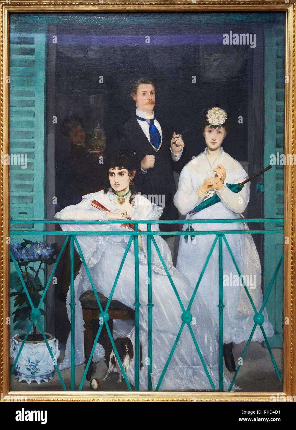 'The Balcony' 1868. Edouard Manet. 1832 - 1883. Berthe Morisot, the violinist Fanny Claus, and behind the women is the painter Antonin Guillemet. - Stock Image
