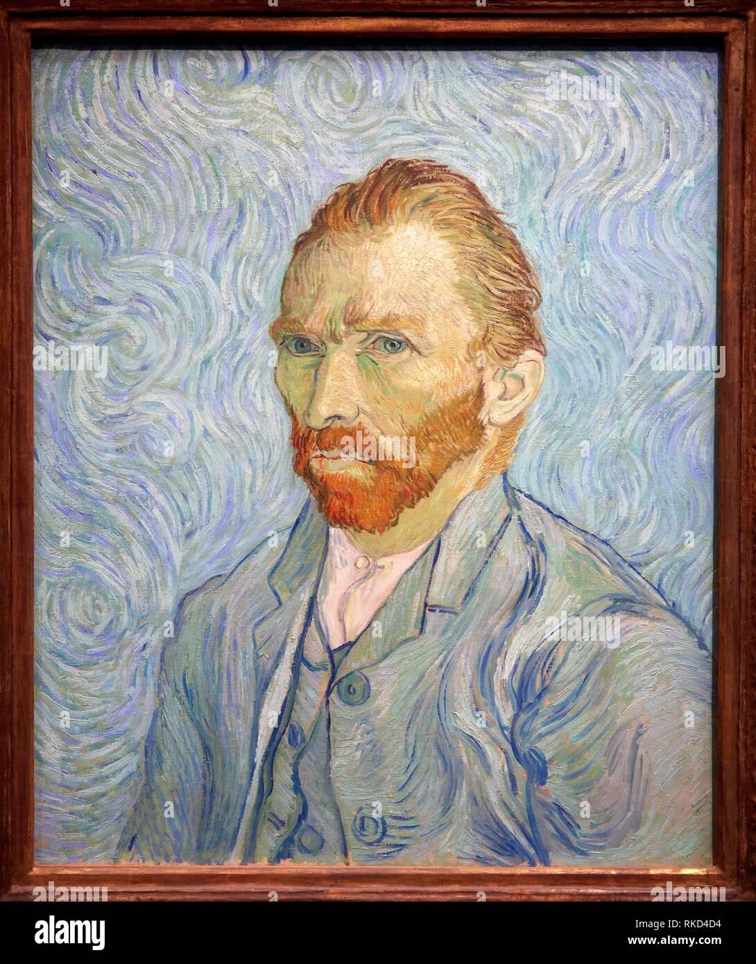''' Self-Portrait '', 1889, by Vincent Van Gogh (1853-1890), oil on canvas, 65x54 cm. Musée d'Orsay. Orsay Museum. Paris. France. - Stock Image
