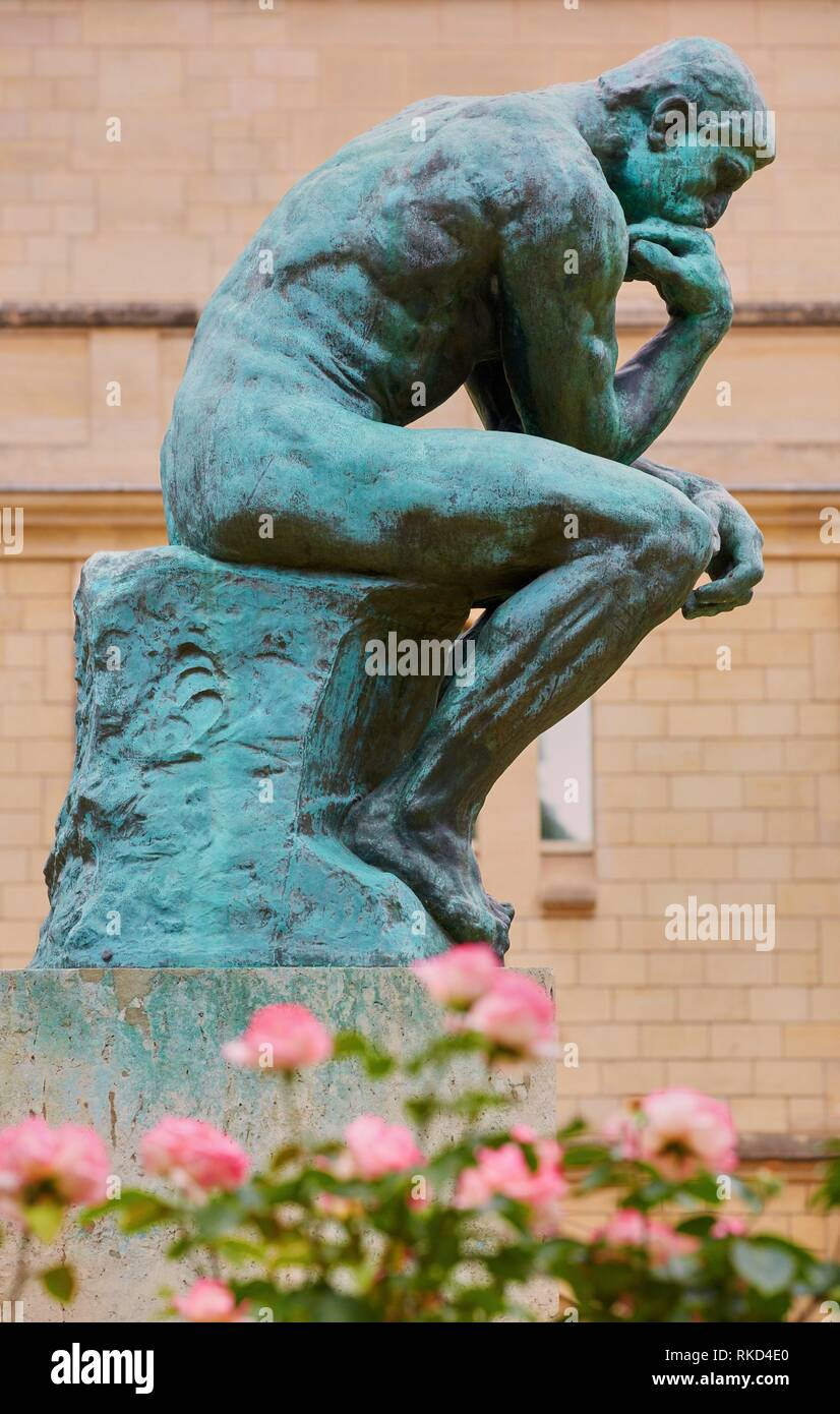 '''The Thinker'', sculpture by Auguste Rodin. Rodin Museum. Paris. France - Stock Image