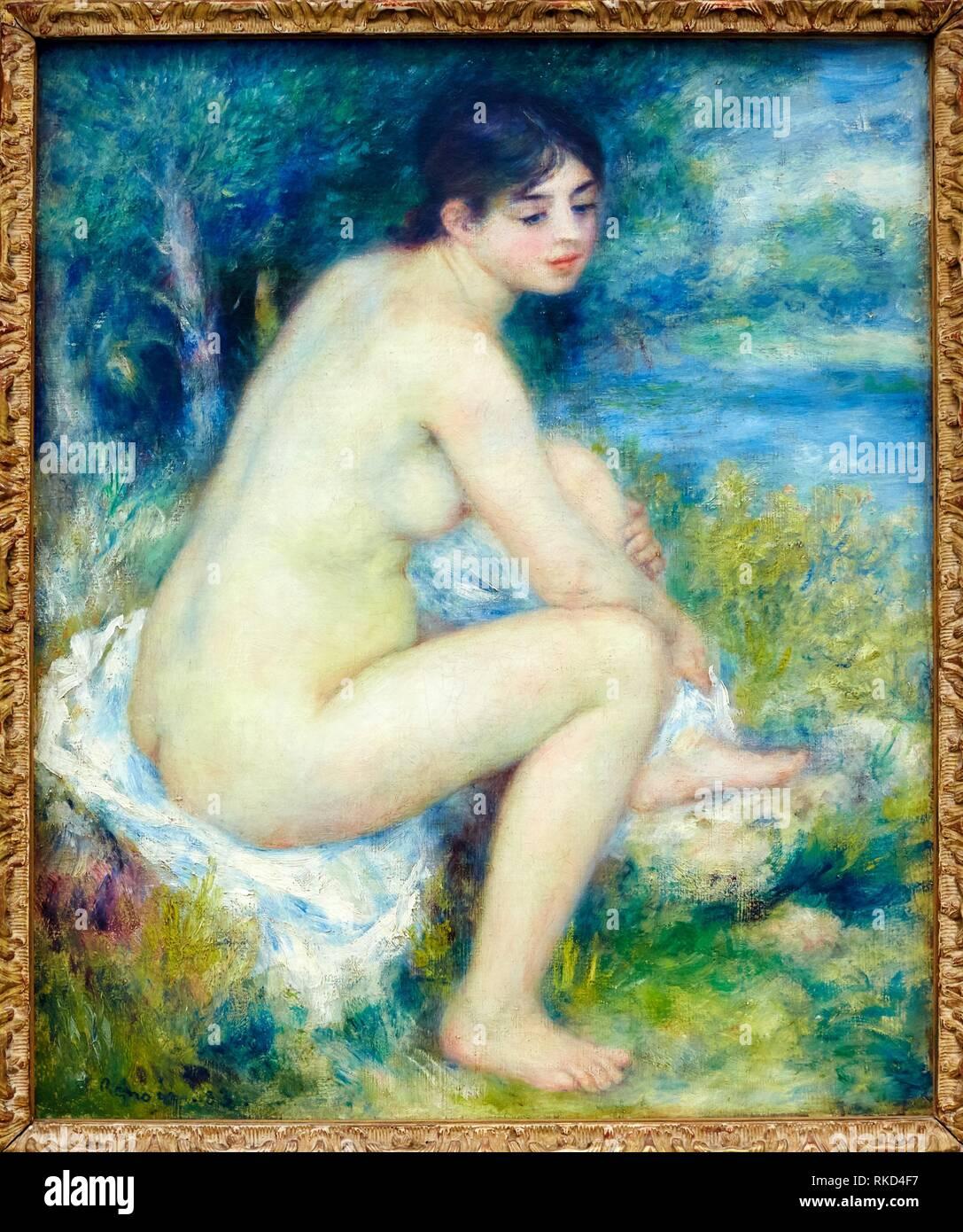 Femme nue dans un paysage, Pierre-Auguste Renoir, Musee de L'Orangerie, Tuileries, Paris, France - Stock Image