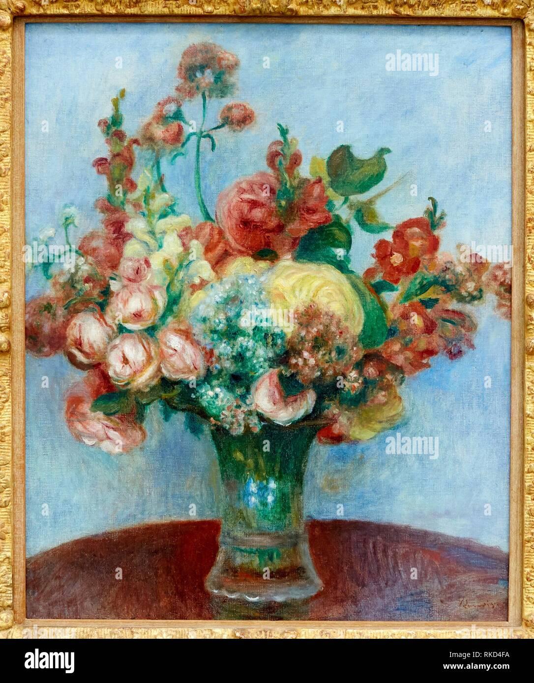 '''Fleurs dans un vase'', Pierre-Auguste Renoir, Musee de L'Orangerie, Tuileries, Paris, France - Stock Image