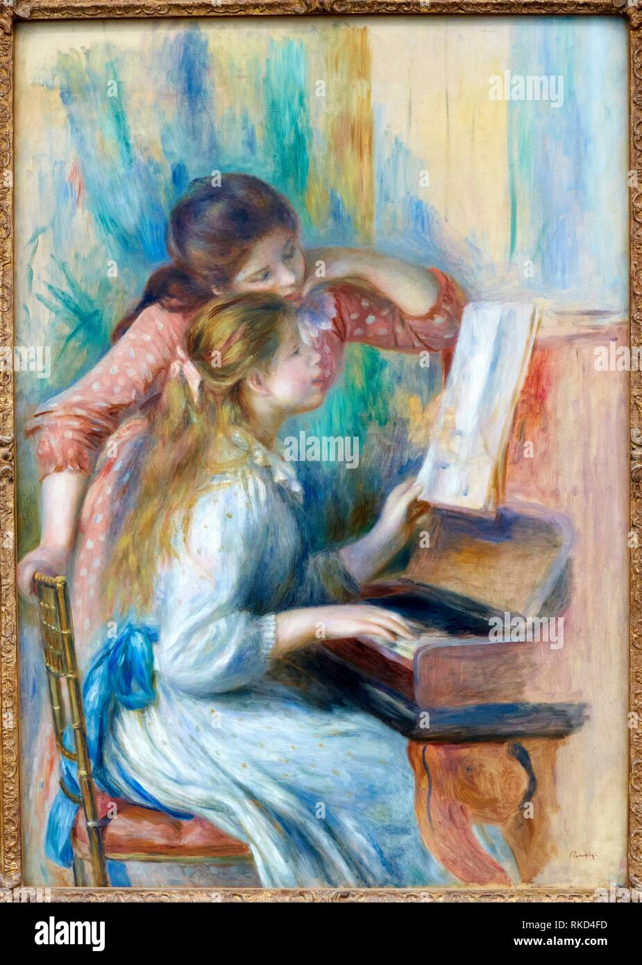 '''Jeunes filles au piano'', Pierre-Auguste Renoir, Musee de L'Orangerie, Tuileries, Paris, France - Stock Image