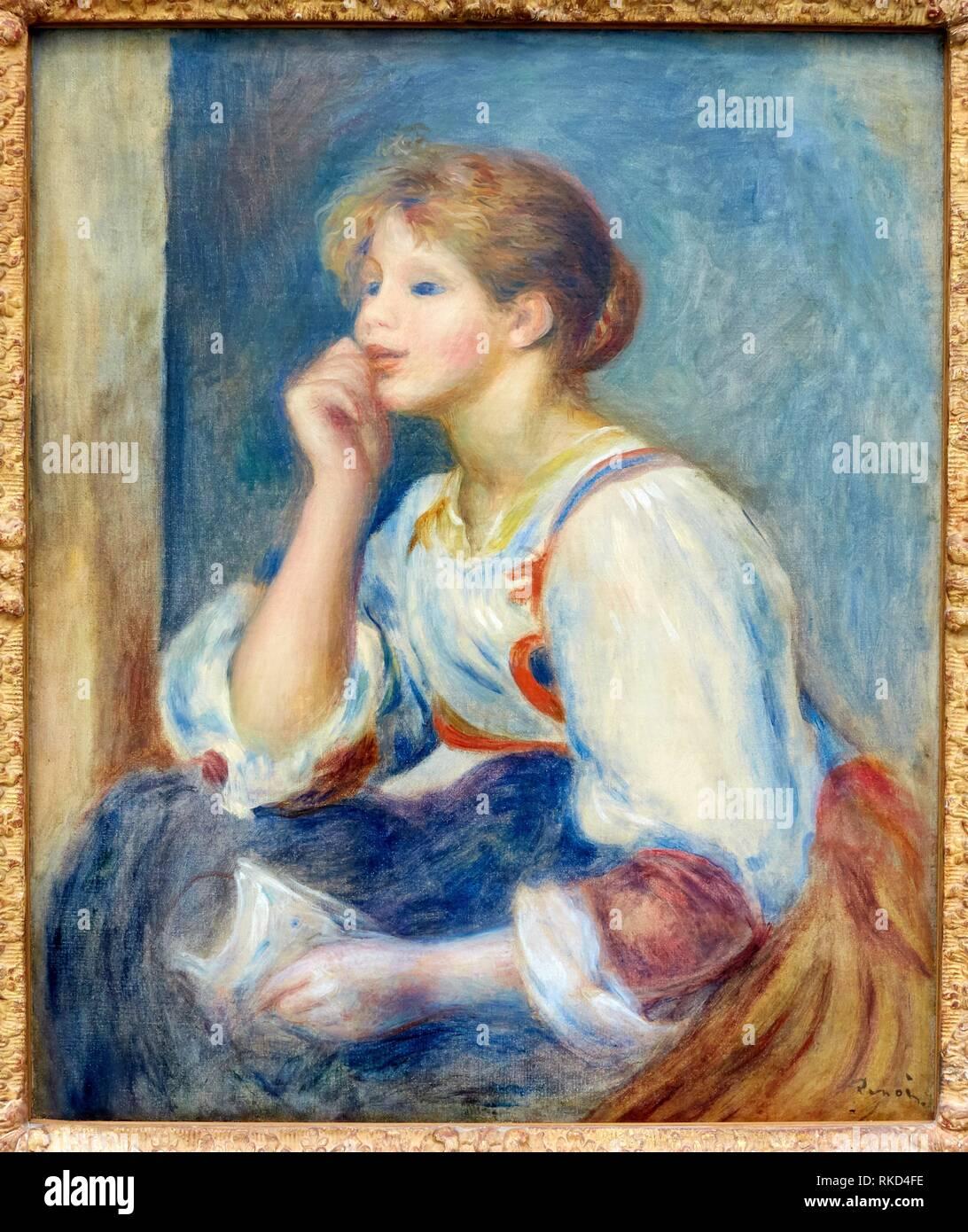 """""""""""""""Woman with a letter"""""""" or """"""""Femme à la lettre"""""""", c.1890 (oil on canvas), Pierre-Auguste Renoir, Musee de L´Orangerie, Tuileries, Paris, France Stock Photo"""