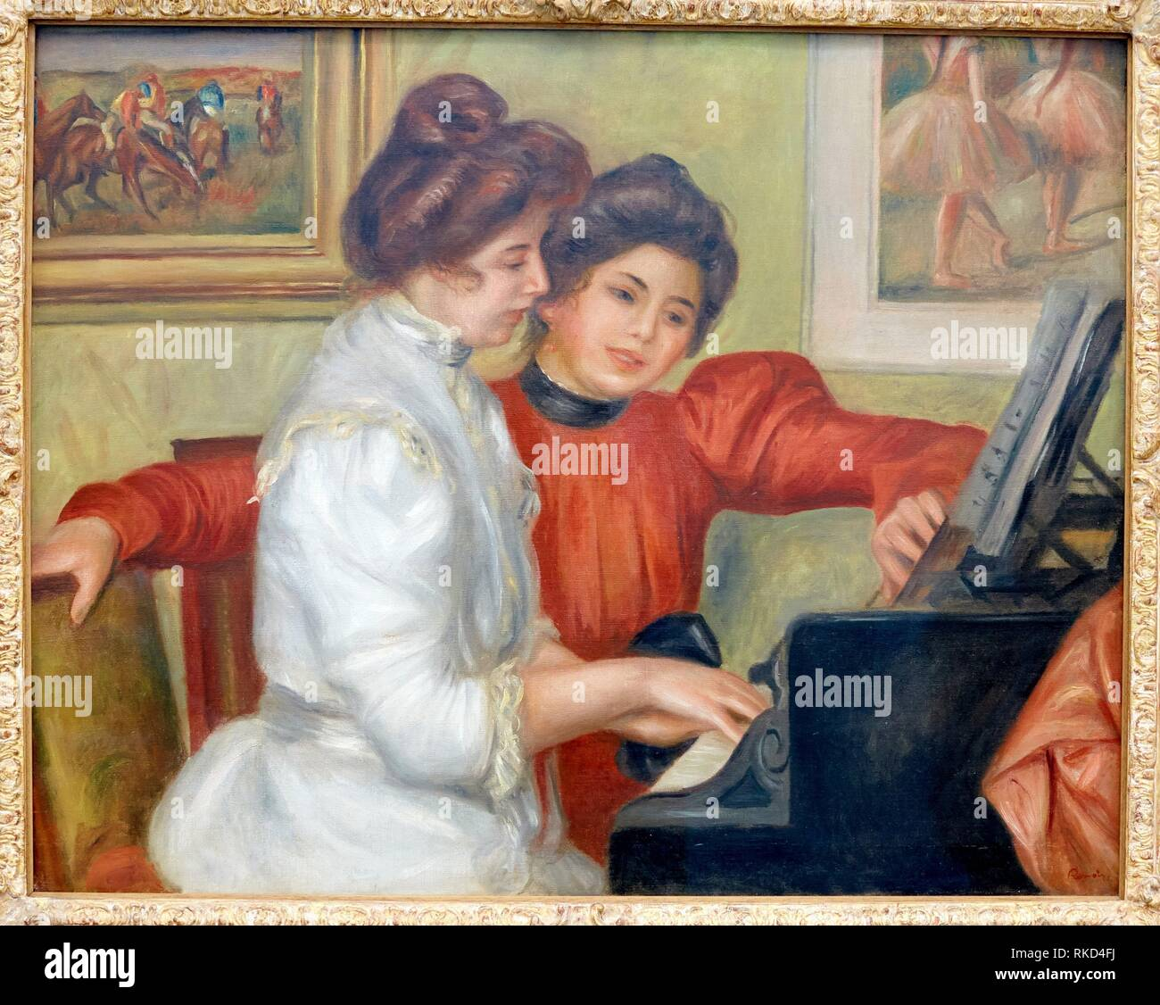 '''Yvonne and Christine Lerolle at the piano'', Pierre-Auguste Renoir, Musee de L'Orangerie, Tuileries, Paris, France - Stock Image