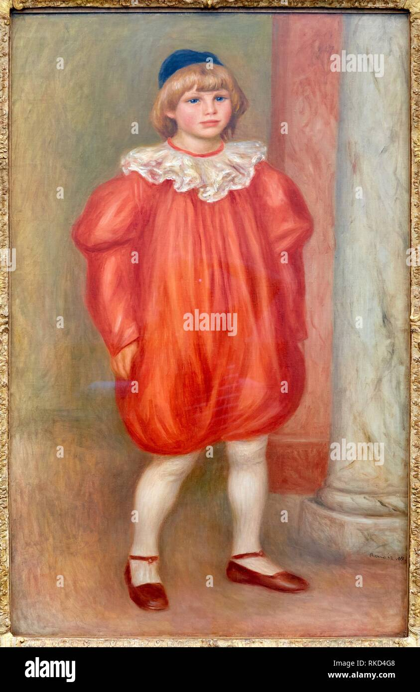 '''Claude Renoir en clown'', Pierre-Auguste Renoir, Musee de L'Orangerie, Tuileries, Paris, France - Stock Image