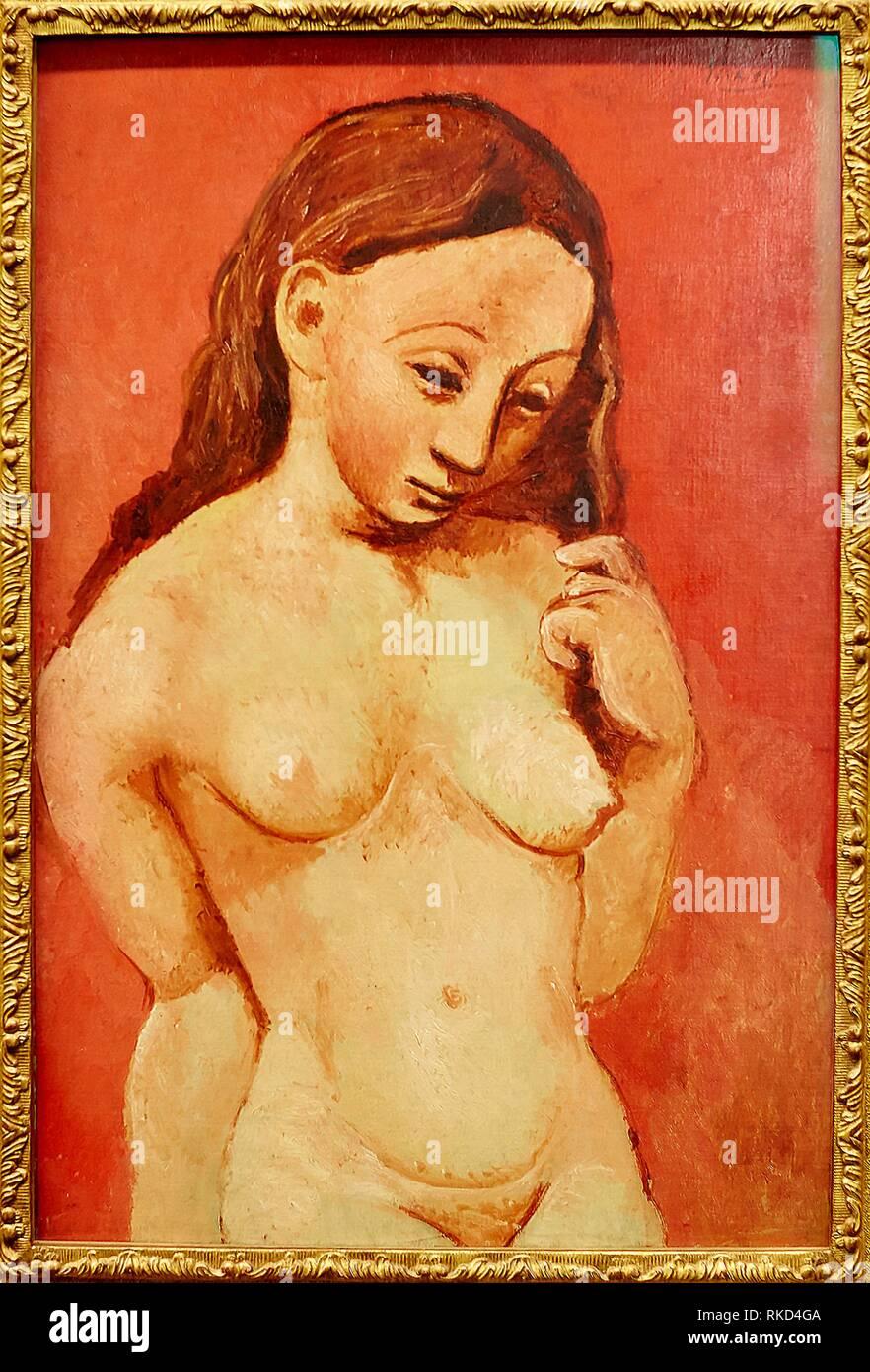 '''Nu sur fond rouge'', Pablo Picasso, Musee de L'Orangerie, Tuileries, Paris, France - Stock Image