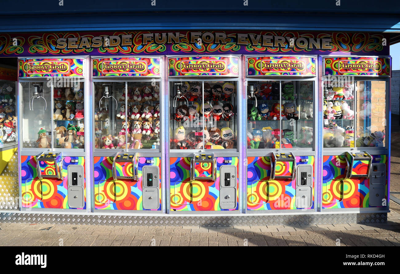 Colorful Amusements on Cleethorpes Beach - Stock Image